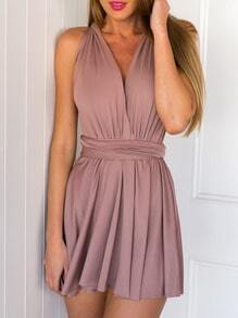 Pink Halter Cross Back Backless Dress