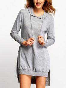 Grey Hooded Long Sleeve High Low Dress