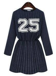 Navy Round Neck Vertical Stripe 25 Print Dress