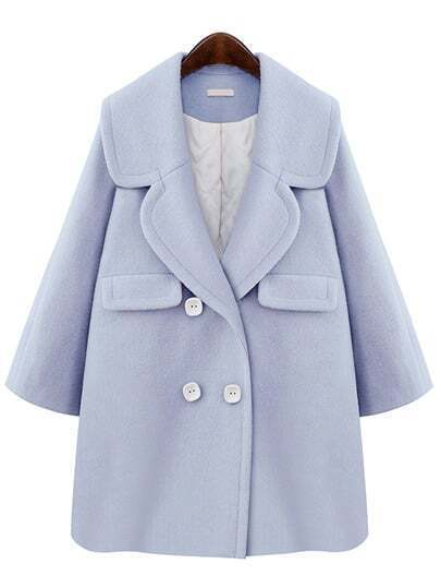 Blue Lapel Double Breasted Woolen Coat