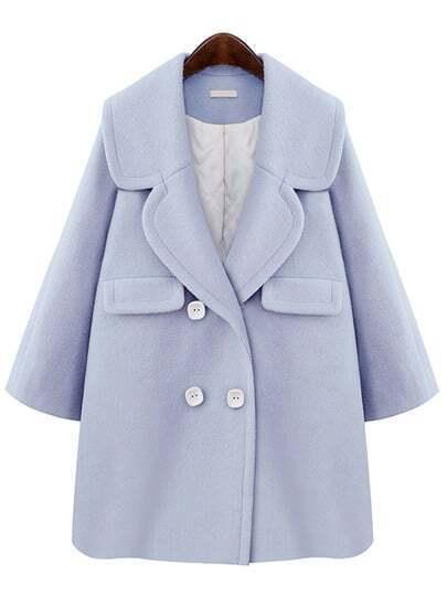 Blue Lapel Double Breasted Woolen Coat