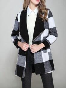 Black White Lapel Plaid Woolen Coat