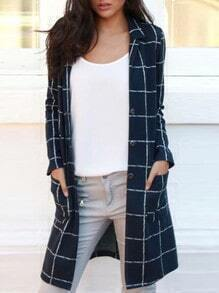 Navy Lapel Plaid Single Breasted Pockets Coat