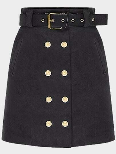 Black Slim Double Breasted Skirt
