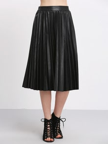 Black High Waist Pleated PU Skirt