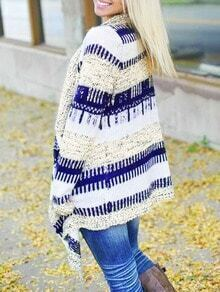 Blue White Long Sleeve Loose Cardigan