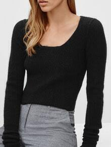 Black Scoop Neck Crop Knit Sweater
