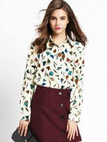 Multicolor Lapel Leaves Print Blouse