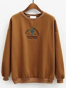 Khaki Round Neck Cactus Letters Embroidered Sweatshirt
