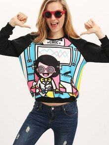 Multicolor Round Neck Cartoon Print Sweatshirt
