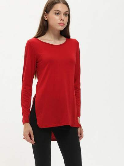Burgundy Round Neck Split Dip Hem T-Shirt