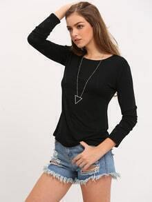Black Round Neck Long Sleeve Loose T-Shirt