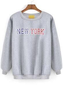 Grey Round Neck NEW YORK Print Sweatshirt