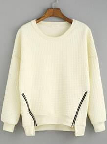 White Round Neck Zipper Loose Sweatshirt