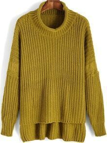 Green High Neck Dip Hem Sweater
