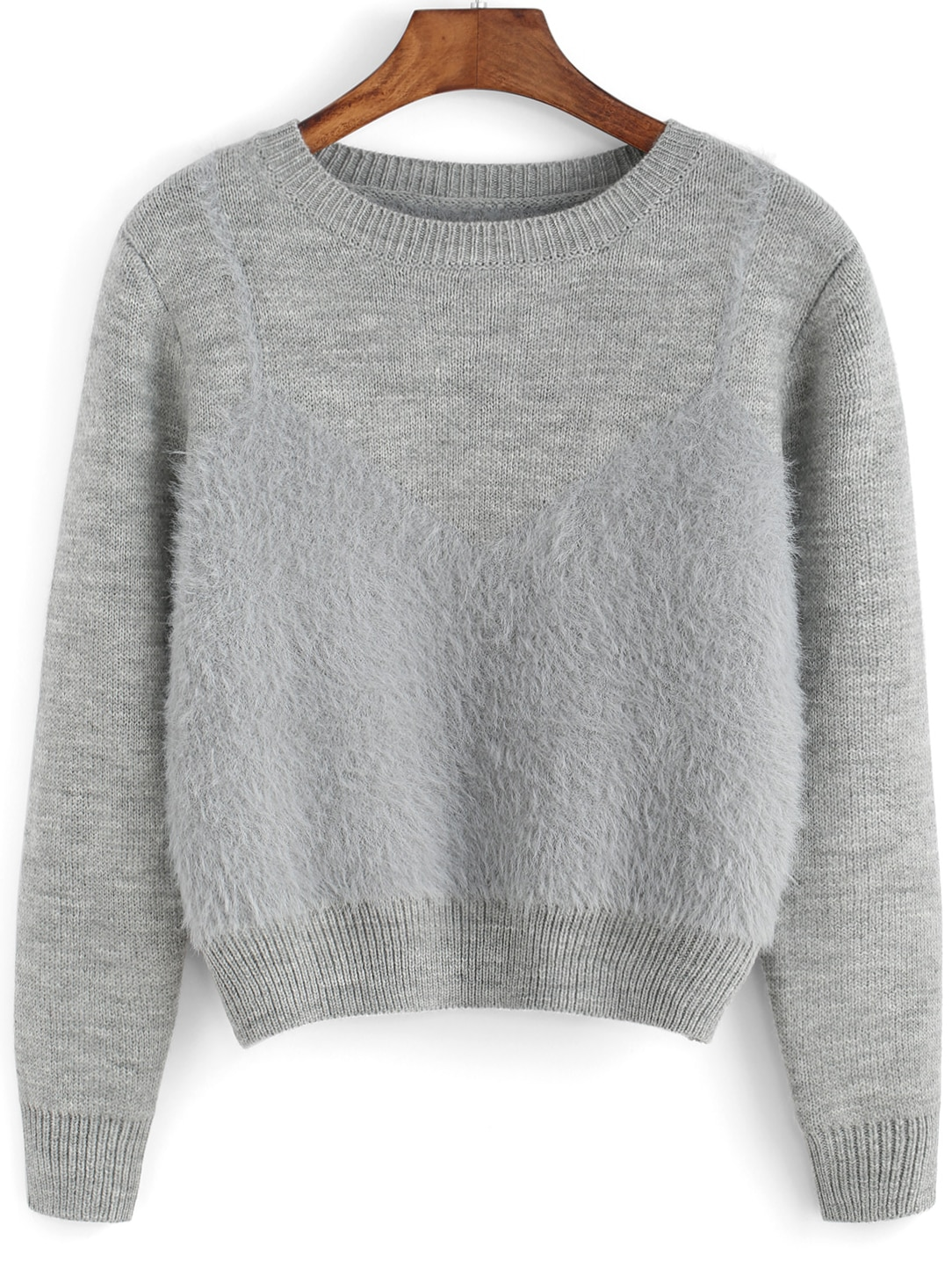 Knitting Sweaters In The Round : Grey round neck crop knit sweater shein sheinside