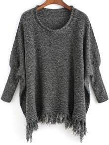Grey Round Neck Tassel Loose Sweater