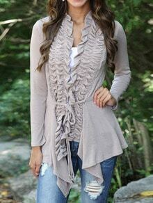 Grey Long Sleeve Ruffle Knotted Knitwear