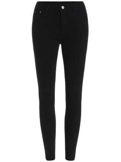 Black Button Slim Denim Pant