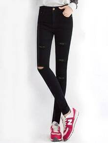 Black Slim Cut-out Denim Pant
