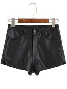 Black Pockets PU Shorts