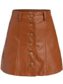 Khaki Buttons A Line PU Skirt