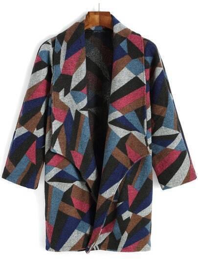 Multicolor Lapel Geometric Print Woolen Coat