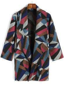 Multicolor Lapel Geometric Print Woolen Coat