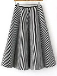 White Black Vertical Stripe Skirt