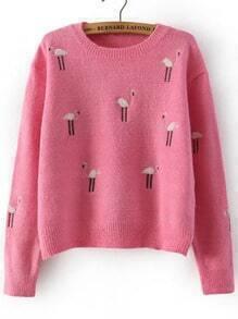 Pink Round Neck Ostrich Embroidered Crop Sweater