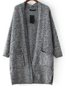 Dark Grey Long Sleeve Pockets Loose Cardigan