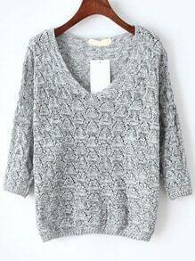 Light Grey V Neck Hollow Knitwear