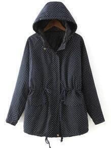 Black Hooded Drawstring Polka Dot Coat