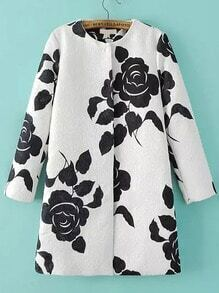 Black White Long Sleeve Floral Jacquard Coat
