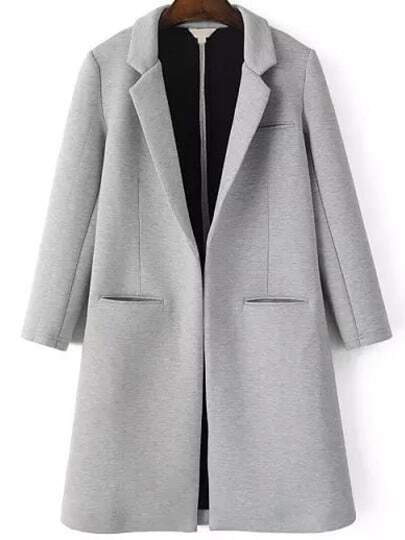 Grey Notch Lapel Long Sleeve Pockets Coat