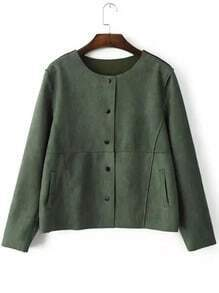 Green Round Neck Buttons Crop Coat