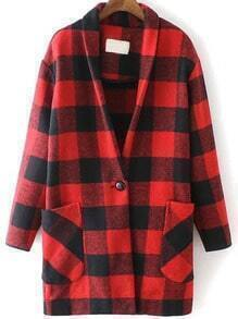 Red Black Plaid Pockets Woolen Coat