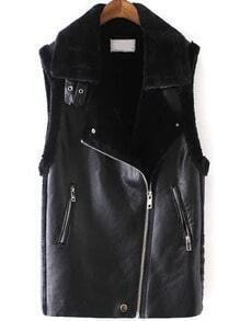 Black Lapel Oblique Zipper PU Vest
