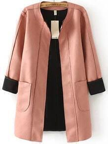 Pink Long Sleeve Pockets Trench Coat