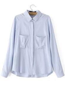 Blue Lapel Long Sleeve Pockets Blouse