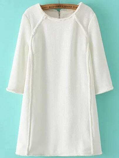 White Round Neck Zipper Back Loose Dress