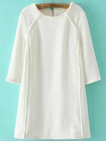 White Round Neck Zipper Back Loose Dress