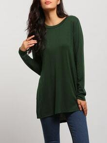 Army Green Round Neck Split T-Shirt
