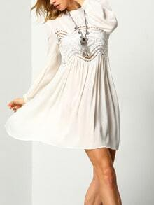 White Long Sleeve With Lace Dress