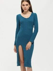 Blue Long Sleeve Split Dress