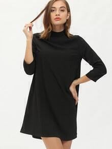 Black Stand Collar Loose Dress
