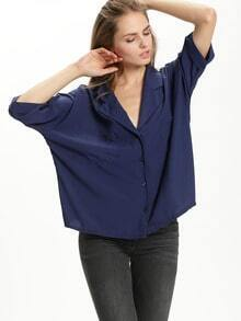 Dark Blue Lapel Pockets Blouse