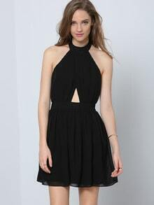 Black Halter Sleeveless Cut Out Pleated Dress