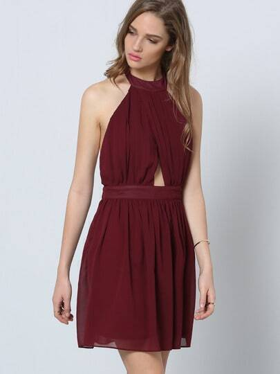 Burgundy Halter Sleeveless Cut Out Pleated Dress