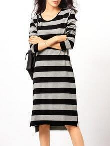 Black Grey Round Neck Striped Dress